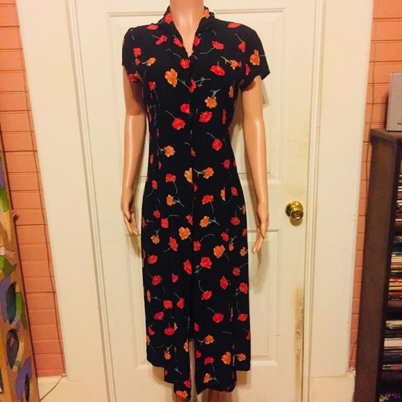 1477fa14e68 Ann Taylor Dresses   Skirts - Ann Taylor Loft Vintage 90 s Black Floral  Dress 10